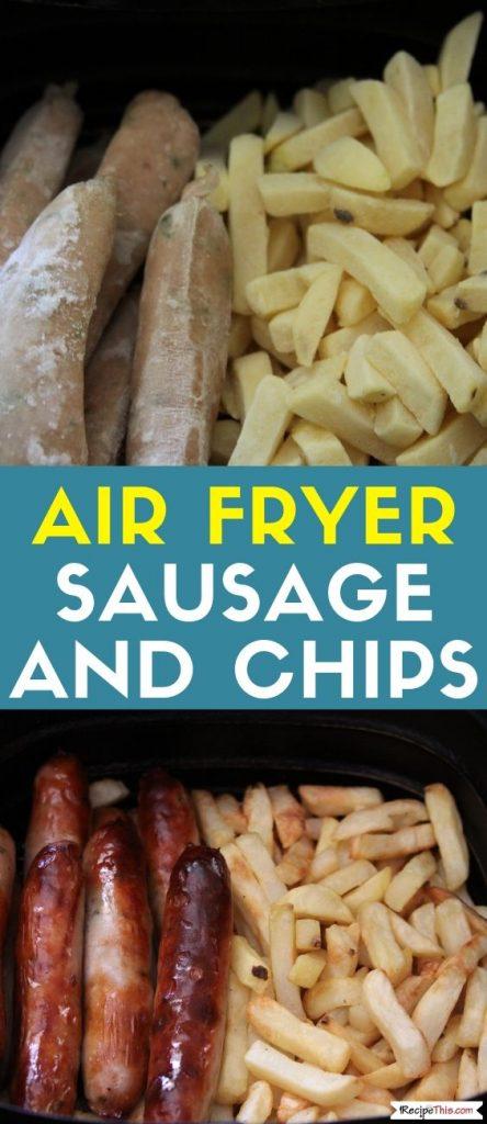 Air Fryer Frozen Sausage & Chips