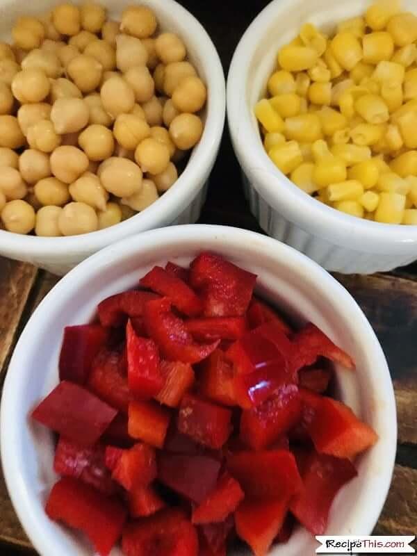 Air Fryer Healthy Southwestern Salad ingredients in ramekins
