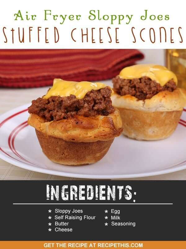 Airfryer Recipes | Air Fryer Sloppy Joes Stuffed Cheese Scones recipe from RecipeThis.com