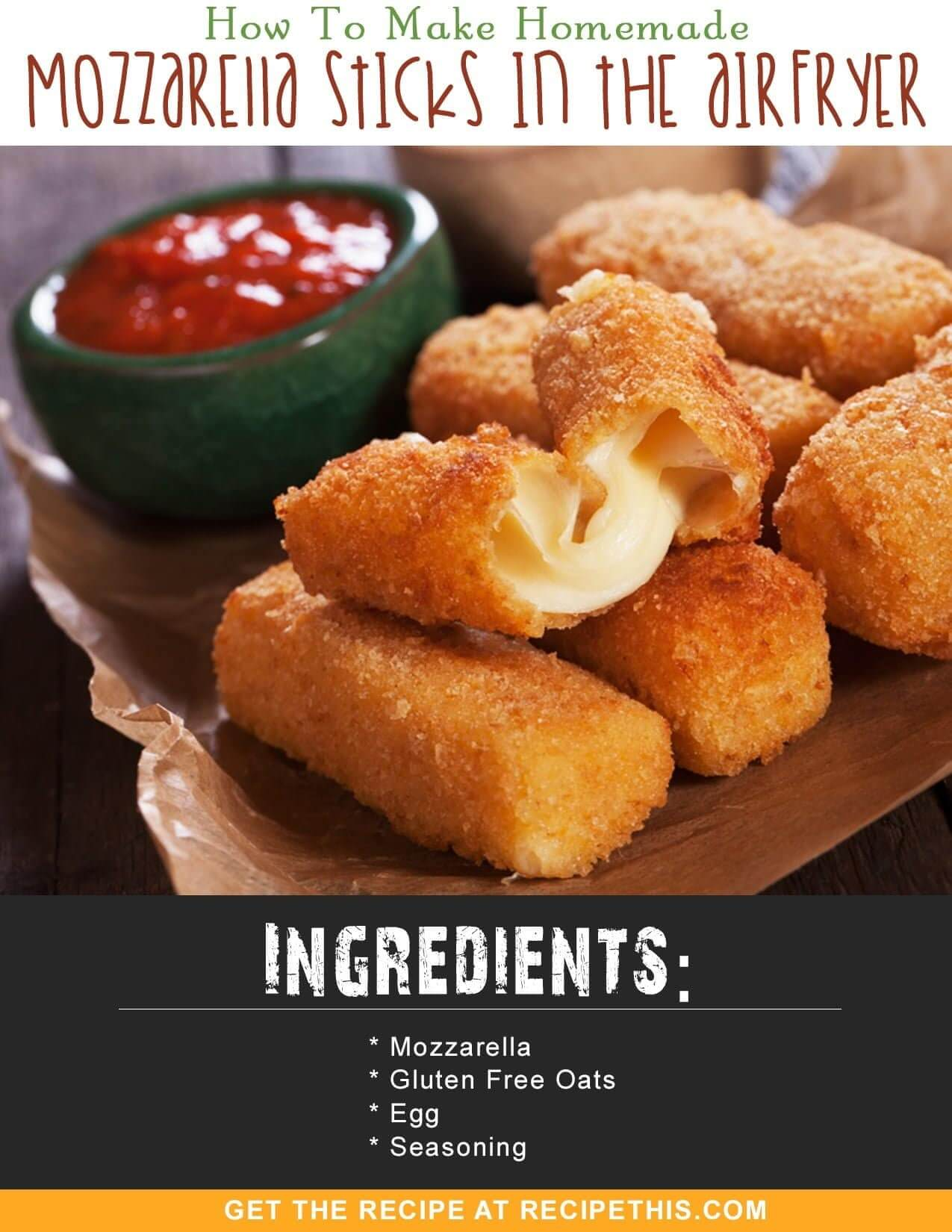 Airfryer Recipes | How To Make Homemade Mozzarella Sticks In The Airfryer Recipe from RecipeThis.com