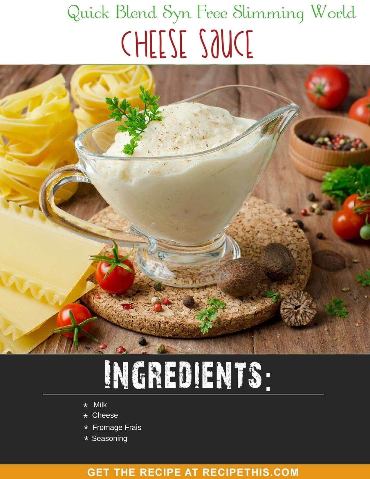 Blender Recipes | Quick Blend Syn Free Slimming World Cheese Sauce recipe from RecipeThis.com
