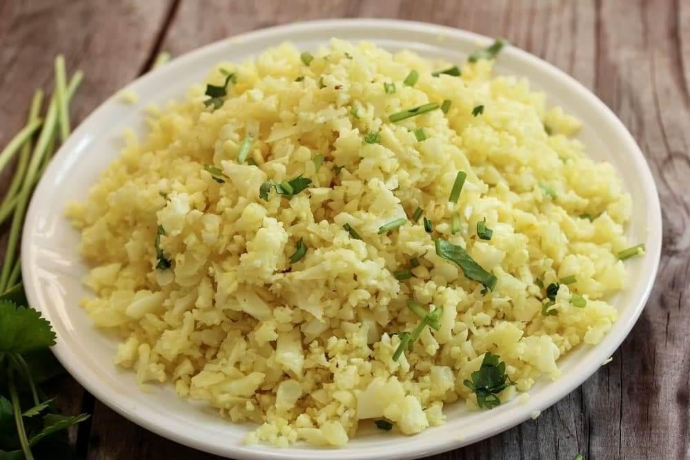 """cauliflower egg fried rice"""