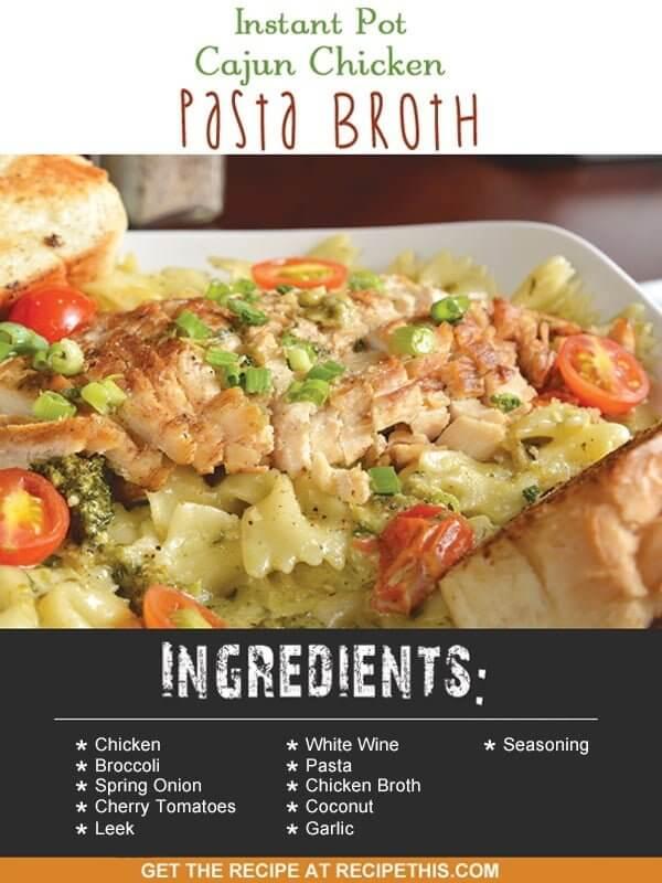 Instant Pot | Instant Pot Cajun Chicken Broth recipe from RecipeThis.com