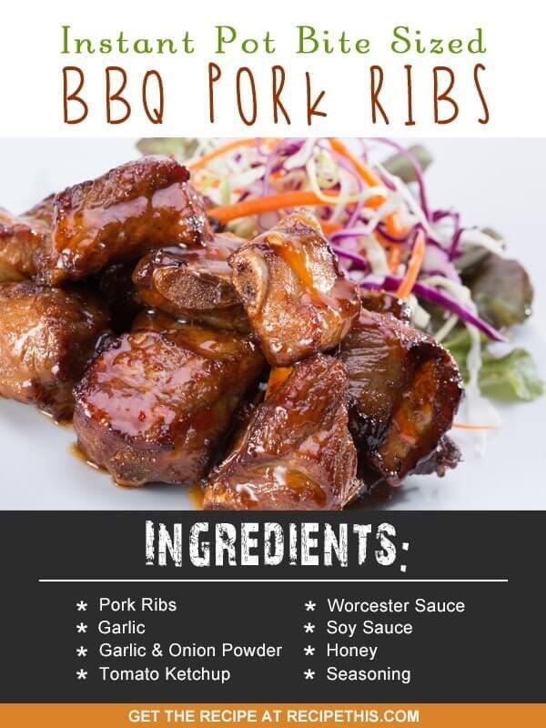 Instant Pot | Instant Pot Bite Sized BBQ Pork Ribs recipe from RecipeThis.com
