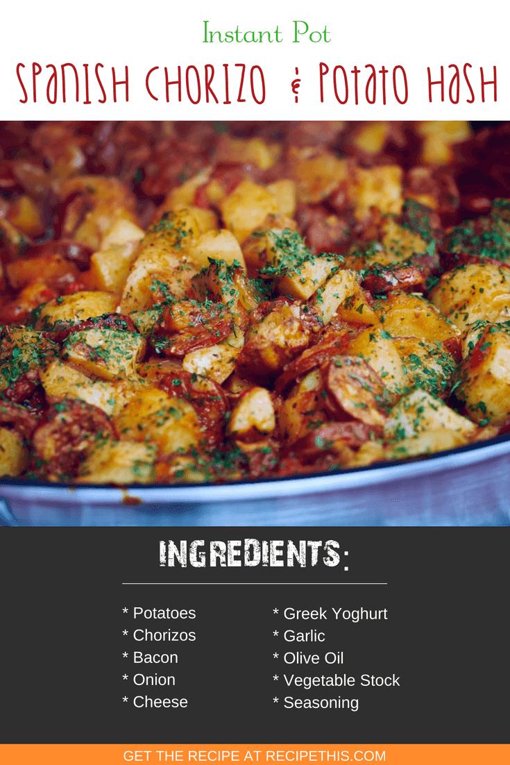 Instant Pot   Instant Pot Spanish Chorizo & Potato Hash recipe from RecipeThis.com