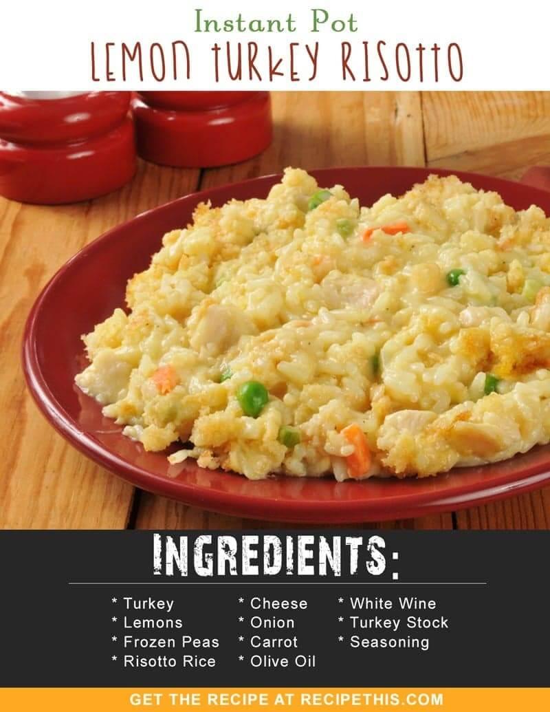 Instant Pot Recipes | Instant Pot Lemon Turkey Risotto recipe from RecipeThis.com