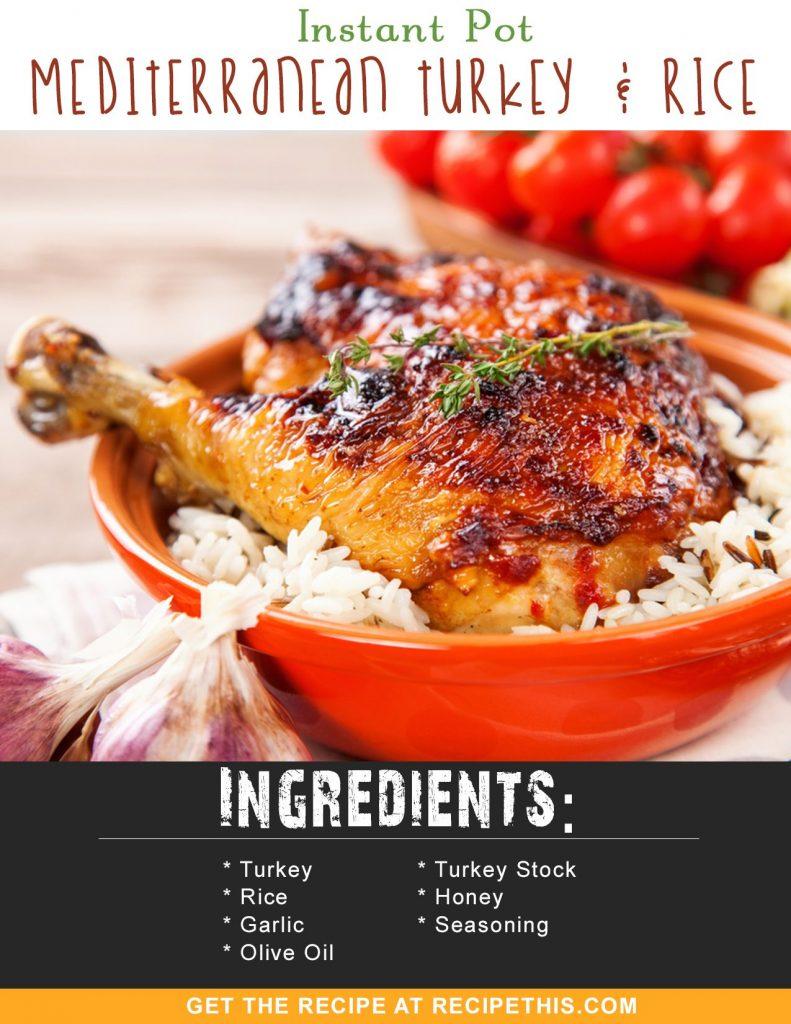 Instant Pot Recipes | Instant Pot Mediterranean Turkey & Rice Dutch Oven Baked Turkey & Spaghetti recipe from RecipeThis.com