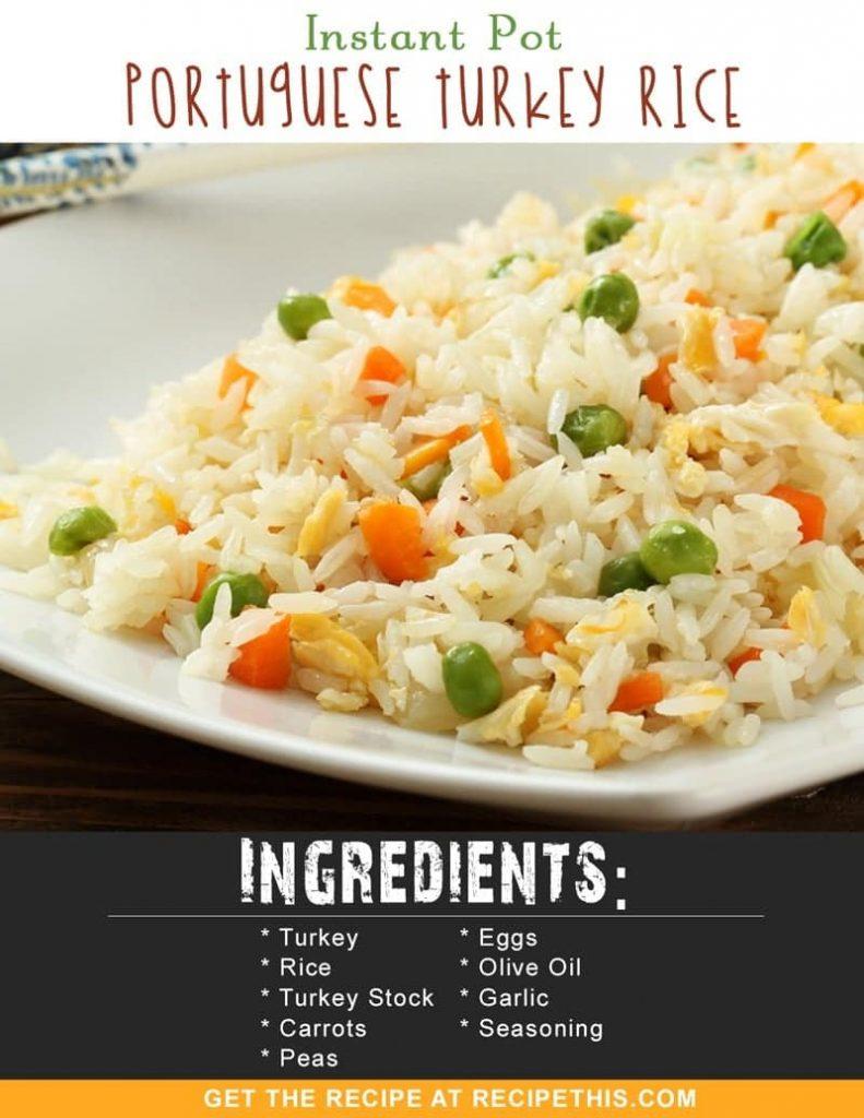 Instant Pot Recipes | Instant Pot Portuguese Turkey Rice recipe from RecipeThis.com