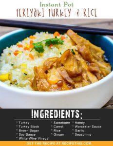 Instant Pot Recipes | Instant Pot Teriyaki Turkey & Rice recipe from RecipeThis.com