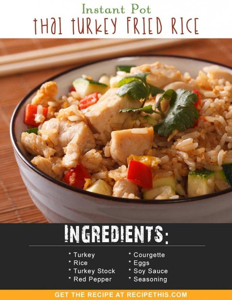 Instant Pot Recipes | Instant Pot Thai Turkey Fried Rice recipe from RecipeThis.com