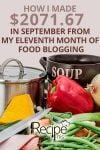 Month 11 Food Blogging & Income Report – September 2016