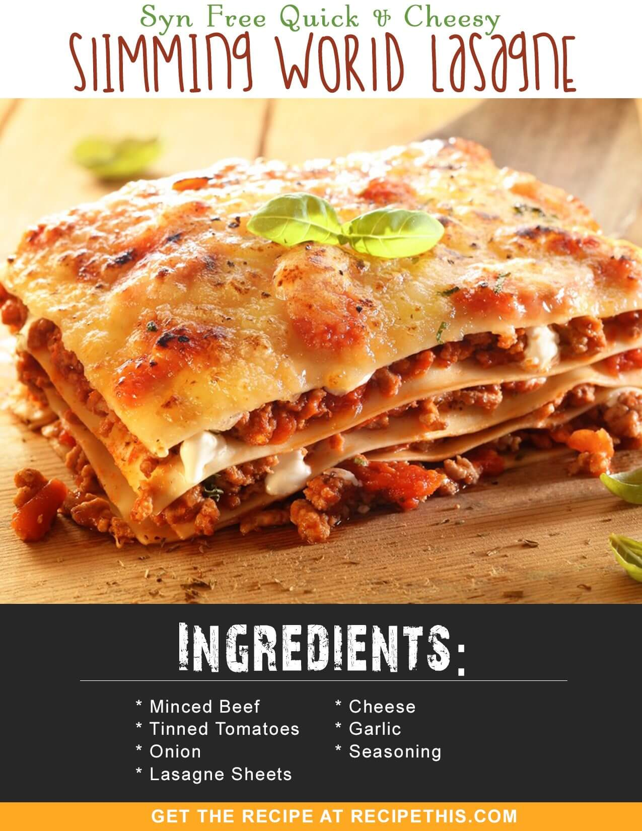 Slimming World Recipes | Syn Free Quick & Cheesy Slimming World Lasagne from RecipeThis.com