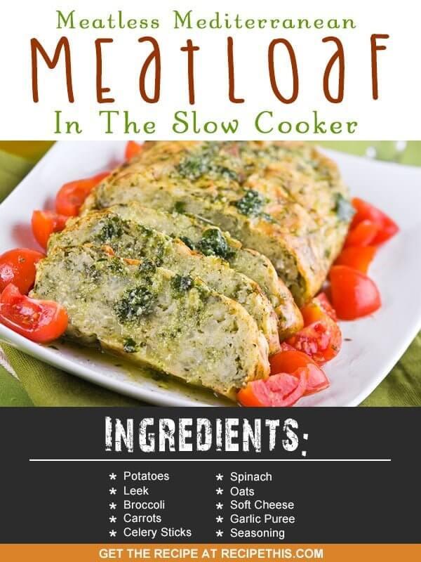 Slow Cooker Recipes | Meatless Mediterranean Meatloaf in the Slow Cooker Recipe from RecipeThis.com