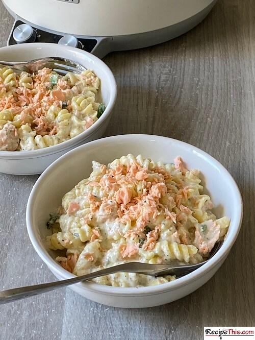 Slow Cooker Salmon Crème Fraiche Pasta