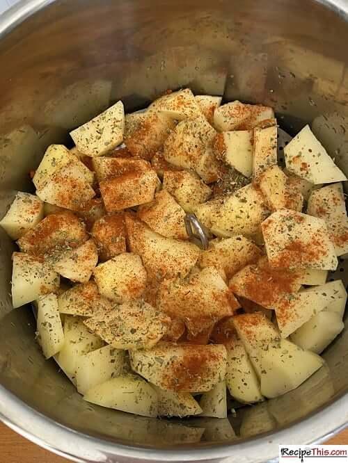 Stage 1 – Cooking instant pot breakfast potatoes