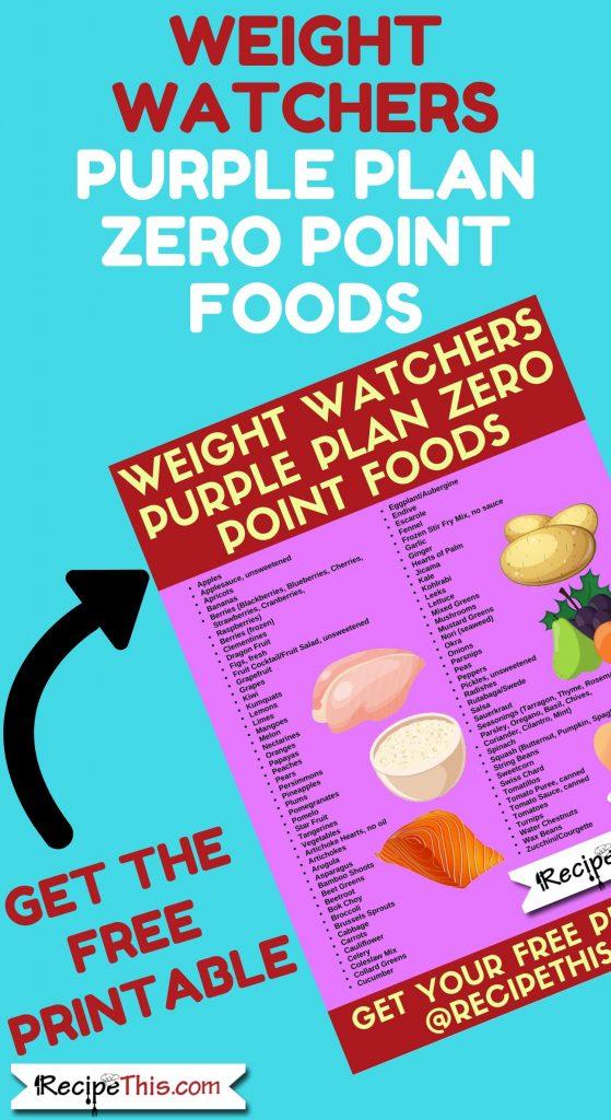 Weight Watchers Purple Plan Zero Point Foods Free Printable