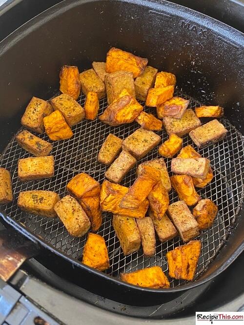 air fried tofu and sweet potato hash