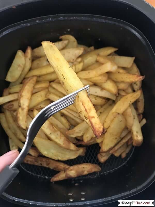 air fryer fries - checking with a fork