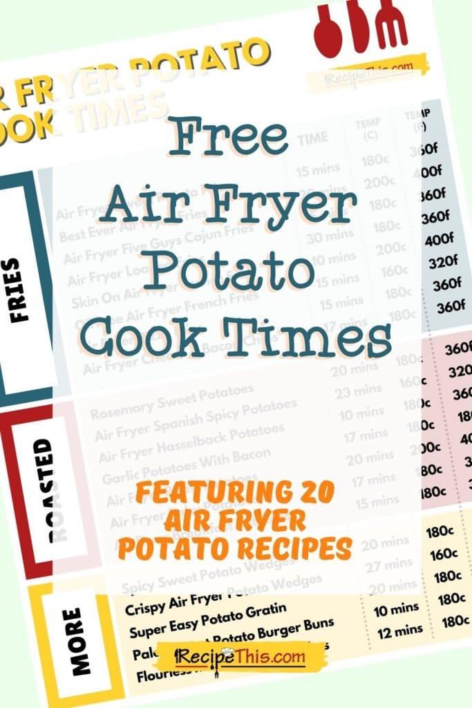 air fryer potato free cooking times printable