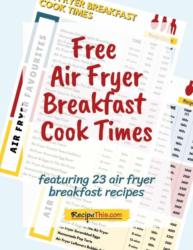 free air fryer breakfast cook times