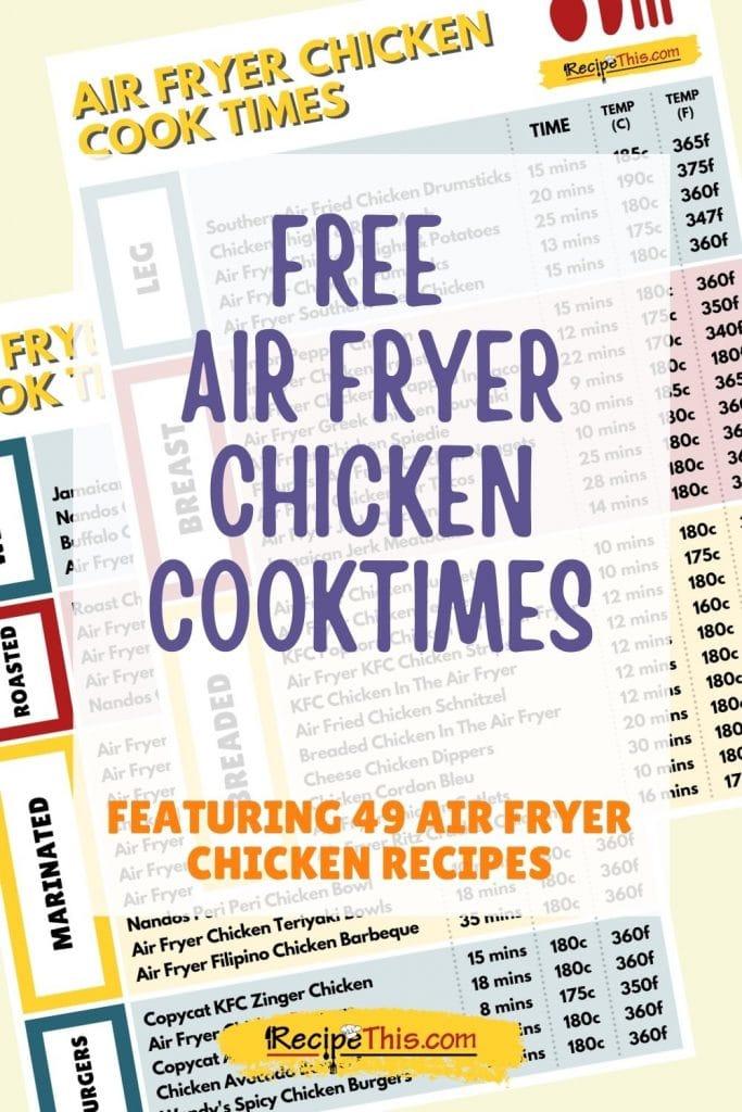 free air fryer chicken cook times