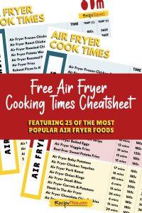 free air fryer cooking times cheatsheet