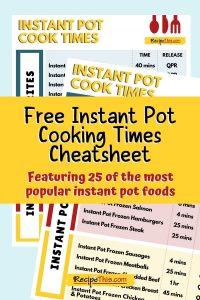 free instant pot cooking times cheatsheet
