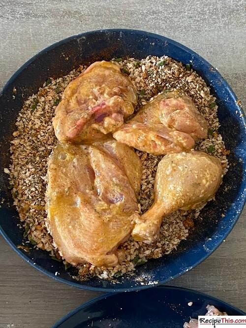 homemade kfc chicken into breadcrumbs