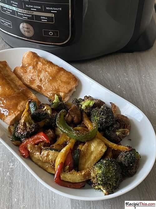 salmon in ninja foodi with teriyaki sauce